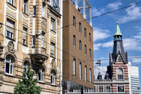 town idyll: Architecture  Contrasts Stock Photo