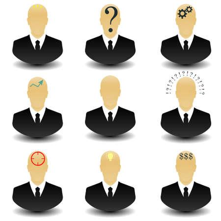 headhunter: Set of thinking businessman web icon