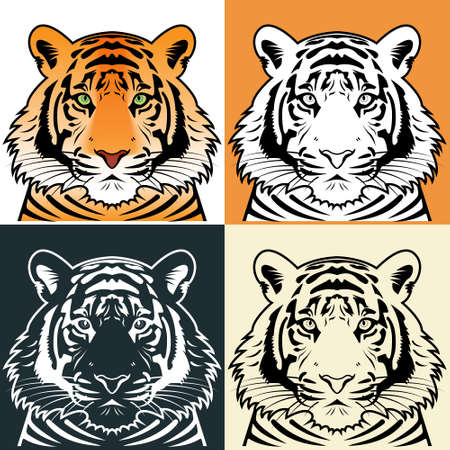 bengal: Tiger head silhouette illustration
