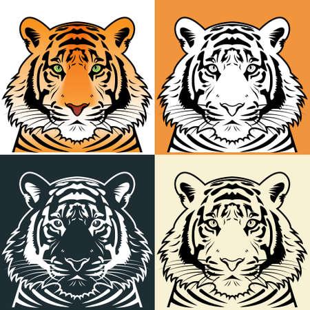 Tiger hoofd silhouet illustratie
