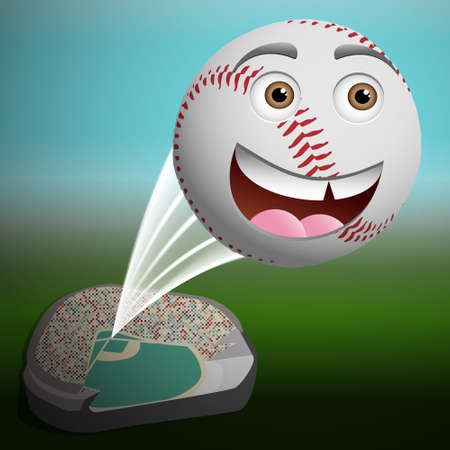 Cute cartoon baseball flying high out of the park Vector