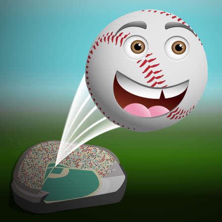 Leuke cartoon honkbal vliegen hoog uit het park Stock Illustratie