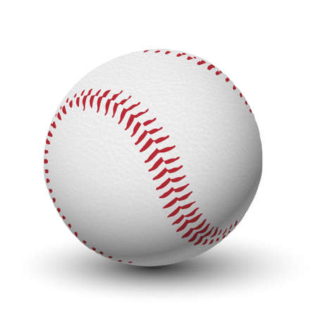 White leather textured baseball ball with red stitches isolated  Detailed vector illustration  Realistic  Ilustrace