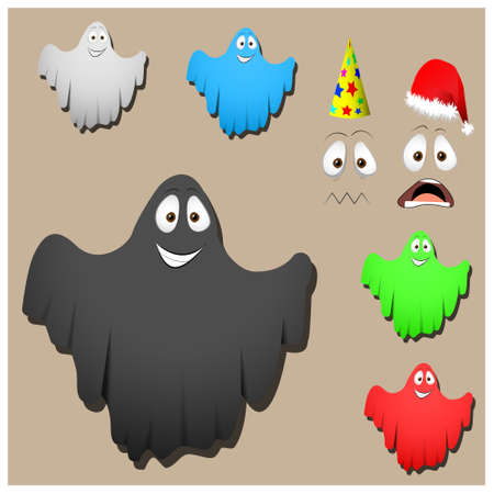 poltergeist: Set of cute halloween  ghosts for design isolated on background
