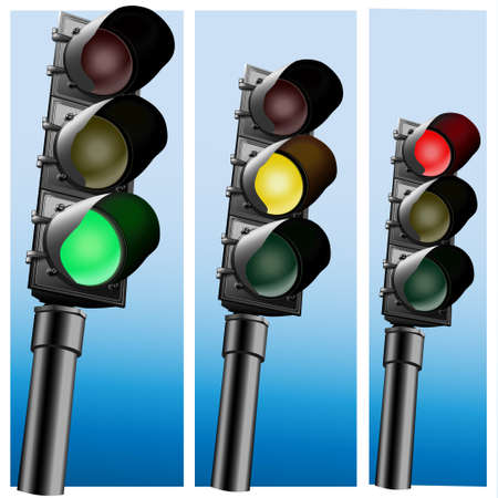 Semaphore Realistic  Traffic lights Vectores