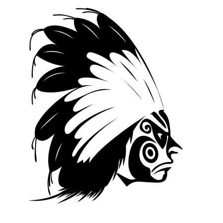 native american man: North American Indian chief - illustration