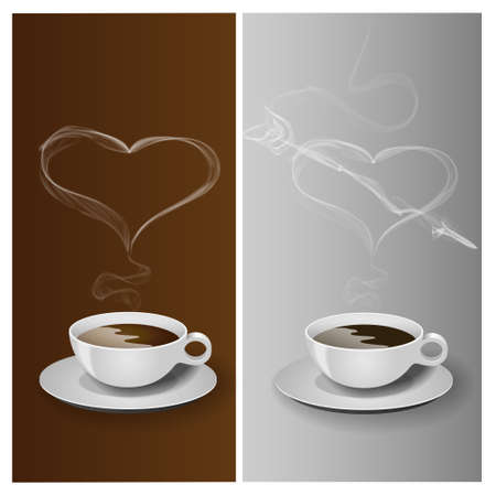 black smoke: Coffee cup with heart Illustration