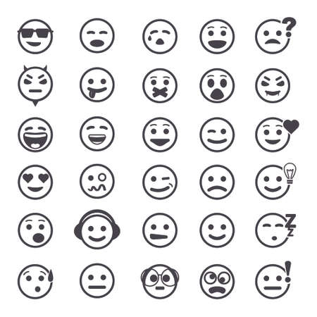 Great set of icons with smiley faces on white background