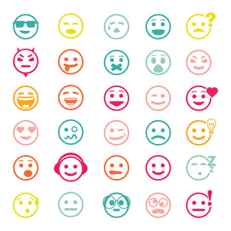 face expressions: Color set of icons with smiley faces on white background