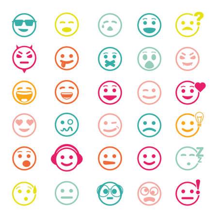 smiley face cartoon: El conjunto de colores de iconos con caras sonrientes en el fondo blanco
