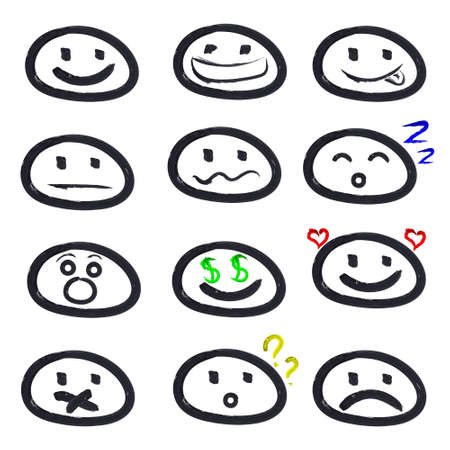 icons of smiley faces. Different emotions. Vector