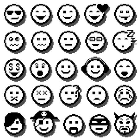 icons of smiley faces. Different emotions. Pixel art. Vector