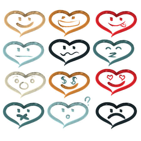 hearts of smiley faces. Handmade watercolor painting. Different emotions. Vector