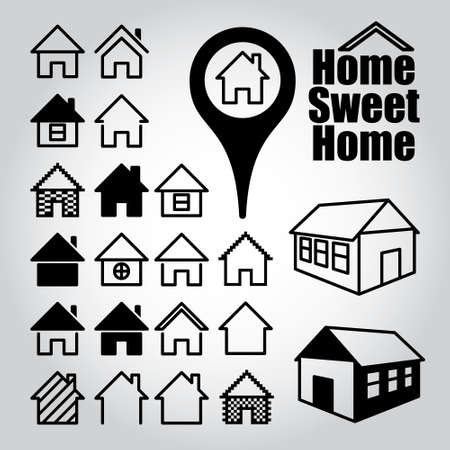 home sweet home: Set of home icons. Home sweet home. Illustration