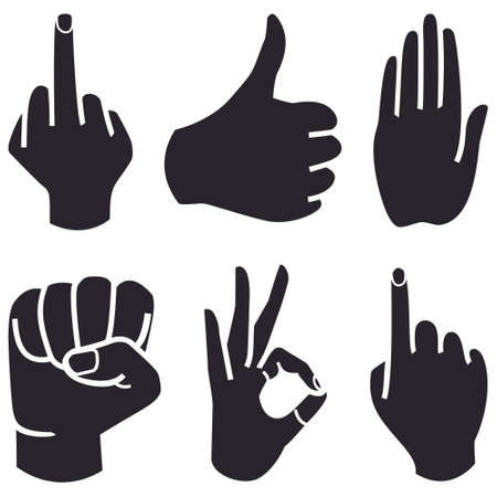 cartoon hands: Human Hand collection different hands gestures signals and signs.