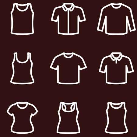 sport clothes: T-short icon set illustrator