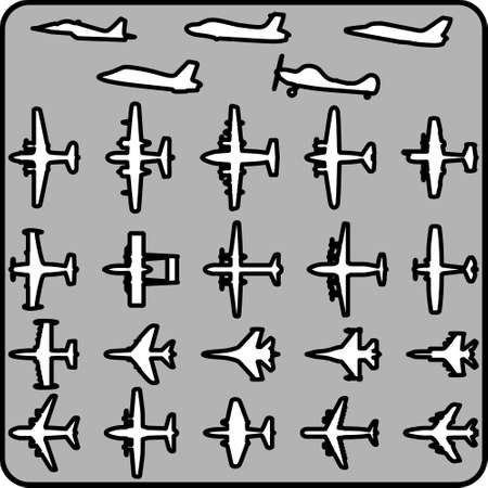 flight steward: Set of different airplane icons. Vector image.