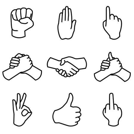 Colección Mano humana diferentes gestos manos señales y signos. Vector icon set Vectores