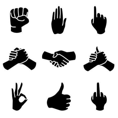 ok sign language: Human Hand collection different hands gestures signals and signs. Vector icon set