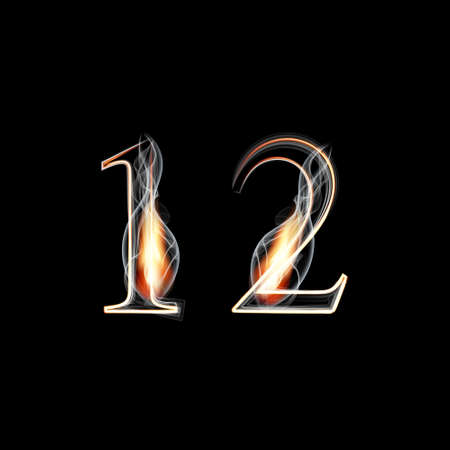 fire font: Fire and Smoke font. Numbers 1 2. Vector illustration. Illustration