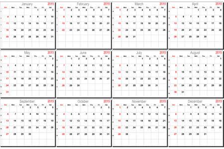 mon 12: Vector calendar planner schedule 2015 week starts with sunday