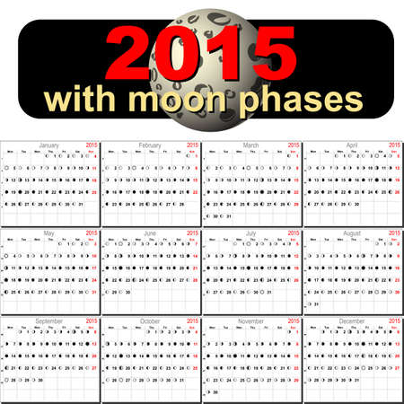 moon phases: Vector calendar planner schedule with moon phases 2015 week starts with monday european style