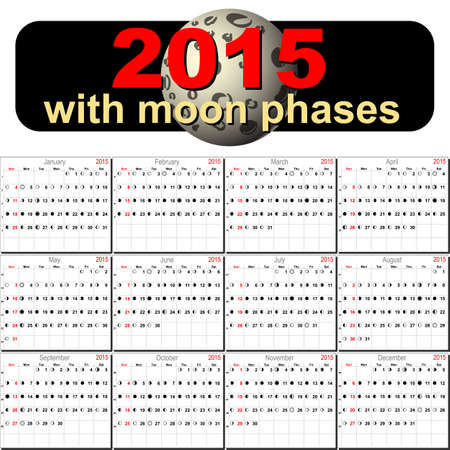 moon phases: Vector calendar planner schedule with moon phases 2015 week starts with sunday american style Illustration