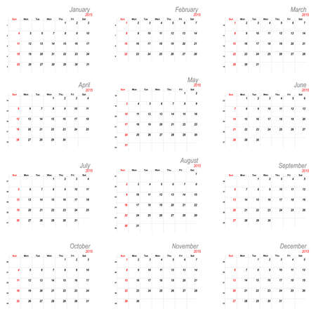 number 12: Vector calendar planner schedule 2015 week starts with sunday american stile