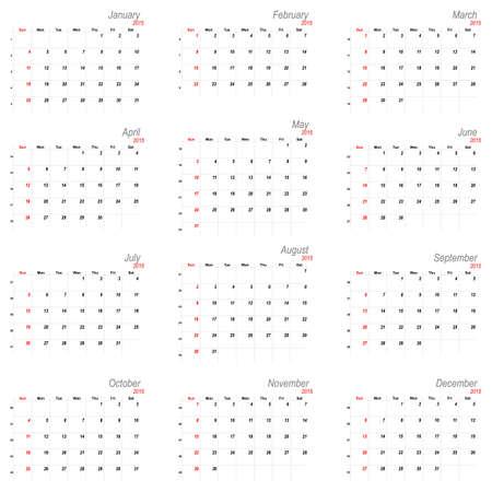 mon 12: Vector calendar planner schedule 2015 week starts with sunday american stile
