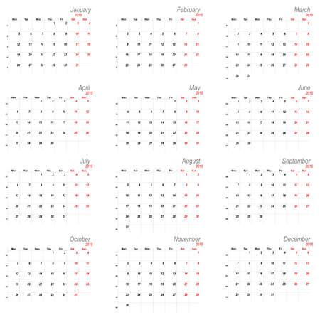 mon 12: Vector calendar planner schedule 2015 week starts with monday european stile Illustration
