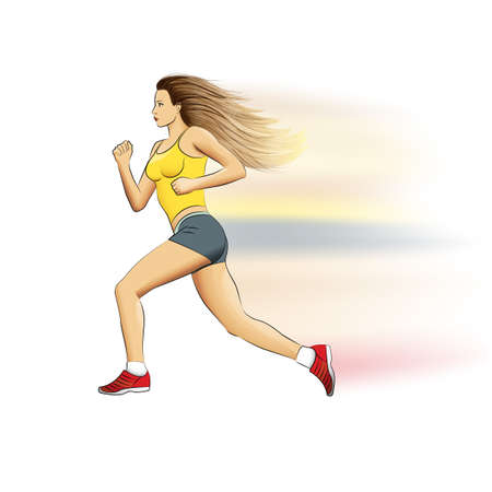 stride: Illustration of a realistic sports fast running girl with waving hair on white Stock Photo