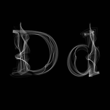 Smoke font. Letter D. Vector illustration alphabet