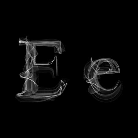 black smoke: Smoke font. Letter E illustration alphabet Illustration
