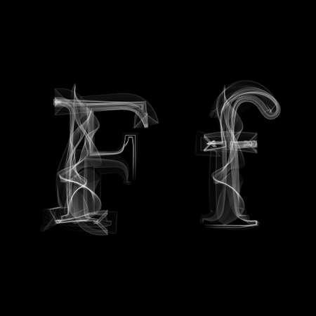 fiery font: Smoke Schriftart, Buchstabe F Abbildung Alphabet