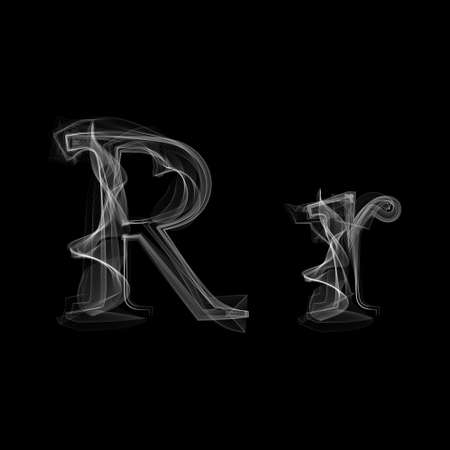 black smoke: Letter R illustration alphabet
