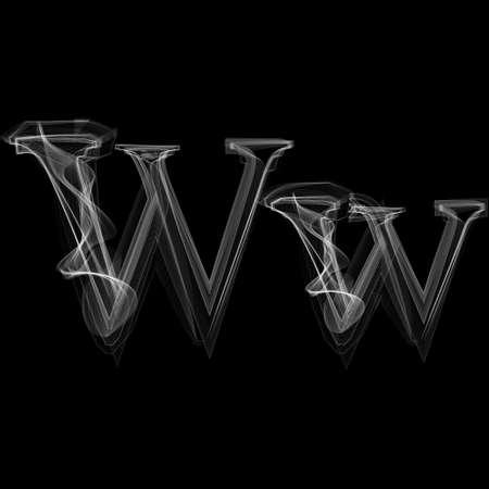 Smoke lettertype. Brief W. Vector illustratie alfabet Stock Illustratie