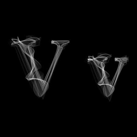 Smoke font. Letter V. Vector illustration alphabet