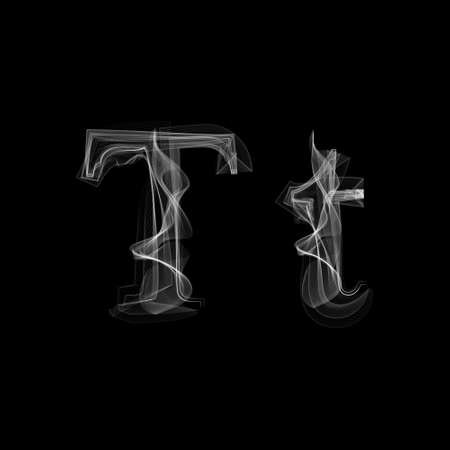Smoke font. Letter T. Vector illustration alphabet Vettoriali