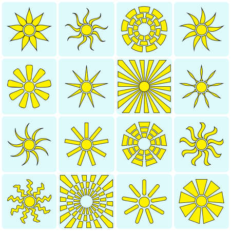 Sun icons collection. Vector illustration Vector