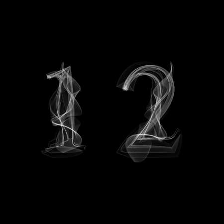 red smoke: Smoke font. Numbers 1 2. Caracter one two.Vector illustration.