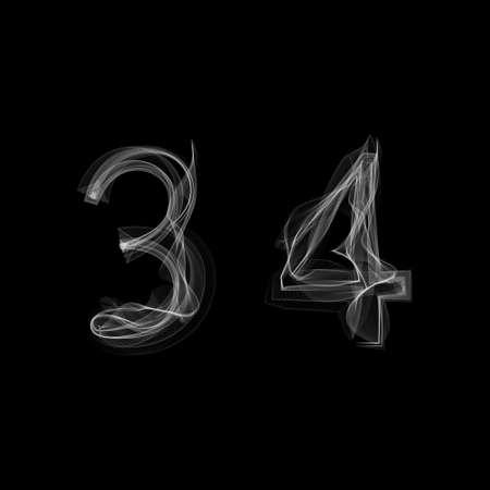 Rook lettertype. Nummers 3 4. Karakterhuis drie vier. Vector illustratie.