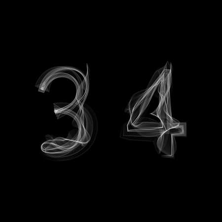 Smoke font. Numbers 3 4. Caracter three four. Vector illustration. 向量圖像