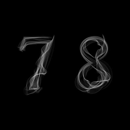 Smoke font. Numbers 7 8. Caracter seven eight. Vector illustration. 일러스트