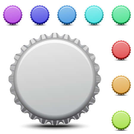 Realistic colorful bottle caps on white background. Vector illustration.