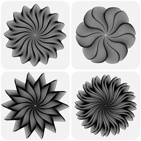 quartet: Set of abstract flowers on white background. Vector illustration Illustration