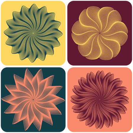 quartet: Set of abstract flowers on colorfull background. Vector illustration Illustration