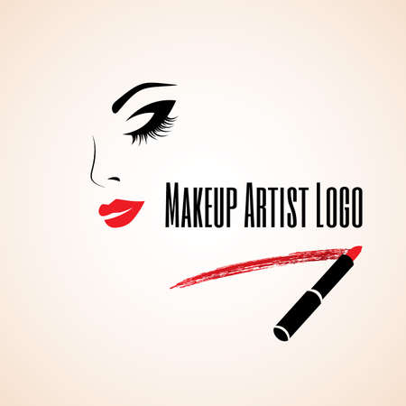 maquillaje de ojos: Cara de mujer abstracta con los ojos cerrados. Rastro de l�piz labial. Vectores