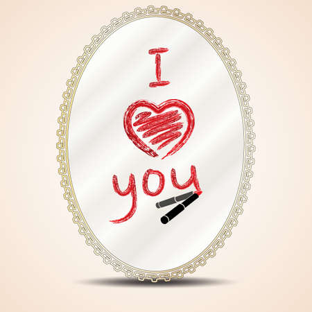 french manicure: Heart and inscription i love you lipstick on mirror