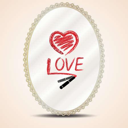 Hart en inscriptie liefde lippenstift op de spiegel