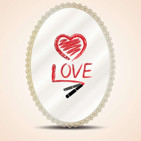 french manicure: Heart and inscription love lipstick on mirror Illustration